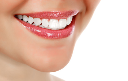 teeth smile: Woman smiling, white background, copyspace