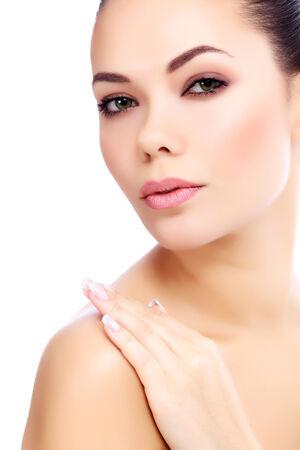 Pretty girl posing on white background  photo