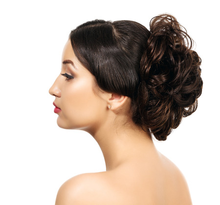 braided hair: Pretty with braided hair, white background, copyspace