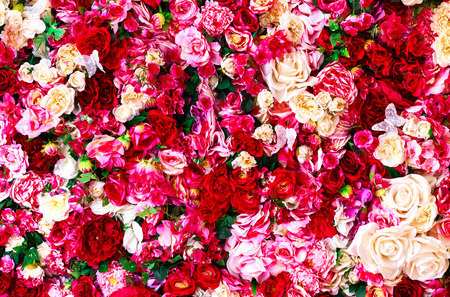 Floral background with red and white roses  photo