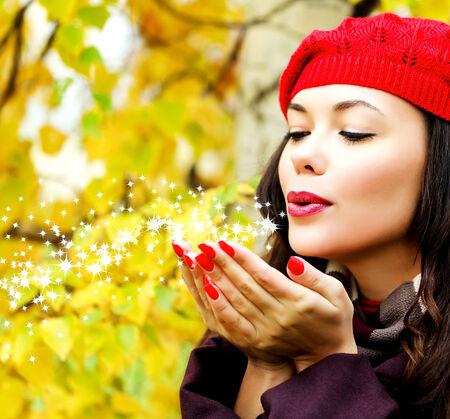 miracle leaf: Young woman posing outdoors Stock Photo