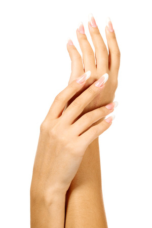 the well groomed: Female hands on white background Stock Photo