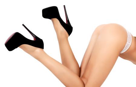 Weibliche Körper, weißem Hintergrund, isoliert