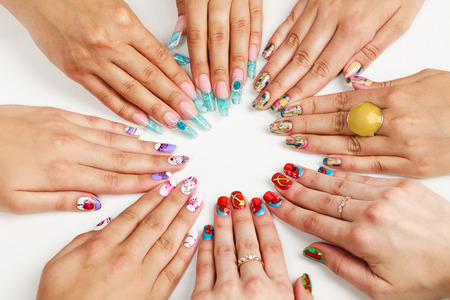 nails manicure: Female hands with various nail arts
