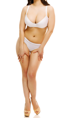 nice breast: Sexy woman in an underwear, white background, isolated, copyspace