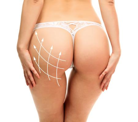 Female butt, white background photo