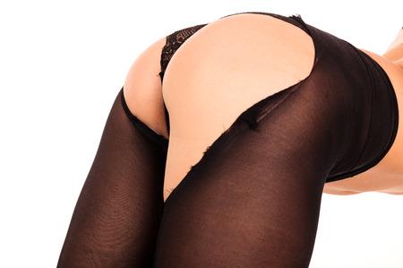 mujer desnuda de espalda: Las piernas y culo de la sexy mujer, fondo blanco, aislados