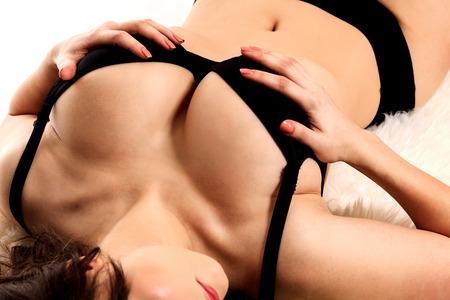 big boobs: Mujer tetona toca sus pechos Foto de archivo