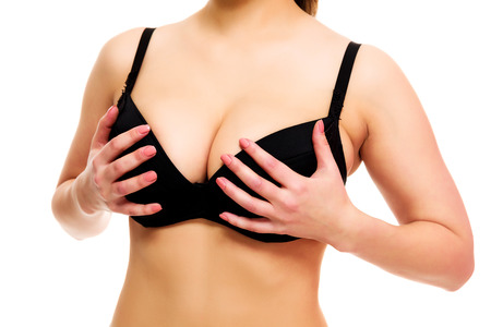boobs: Woman with big breasts, white background, isolated, copyspace