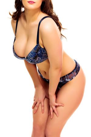 big boobs: Mujer atractiva en un traje de baño, fondo blanco, aislado, copyspace.