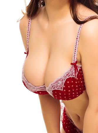 big boobs: Mujer atractiva en un traje de baño, fondo blanco, aislado, copyspace Foto de archivo
