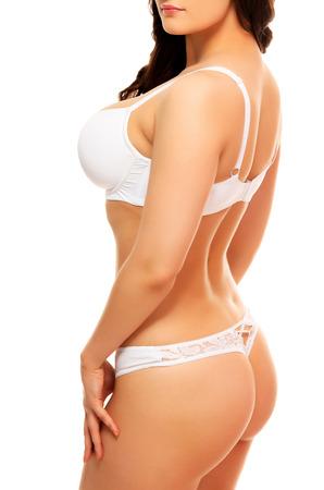 big boobs: Caliente de la mujer en ropa interior de color blanco, fondo blanco, aislado