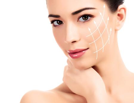 kunststoff: Junge Frau mit sauberen frische Haut, wei�em Hintergrund Lizenzfreie Bilder