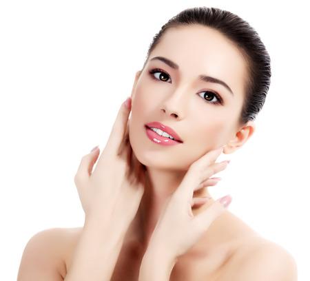 Mooie vrouw met frisse heldere huid, witte achtergrond, geïsoleerd Stockfoto - 38211762