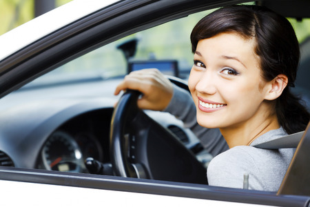 female driver: Smiling female driver