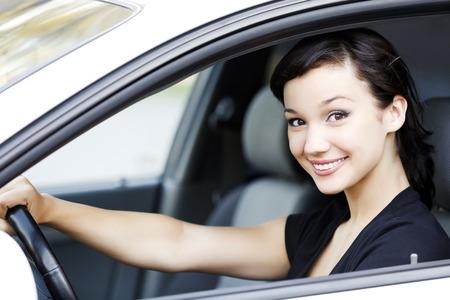 Pretty girl in a car photo