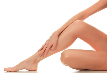 feet naked: Female legs and hands, white background, isolated