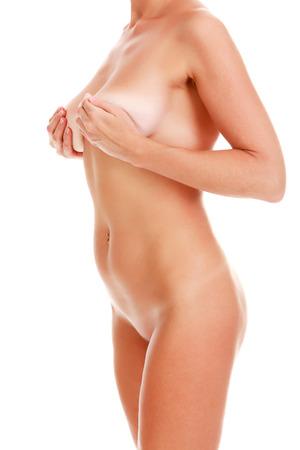 skin cancer: Naked woman on white background, isolated Stock Photo