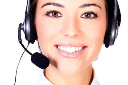 telemarketing: Telemarketing woman, isolated on white