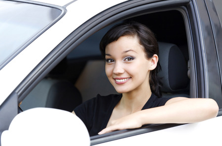 female driver: Pretty female driver Stock Photo