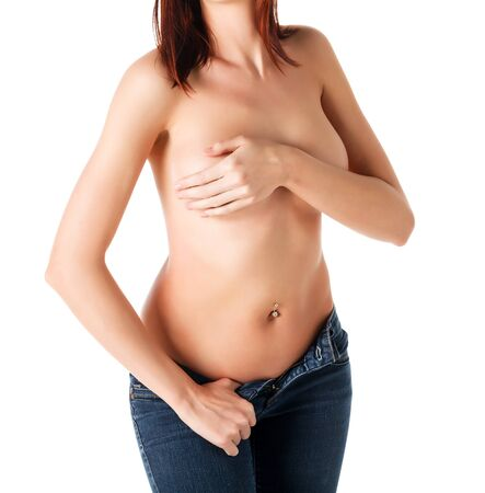 sexy girl nude: Naked woman in blue jeans, white background, isolated