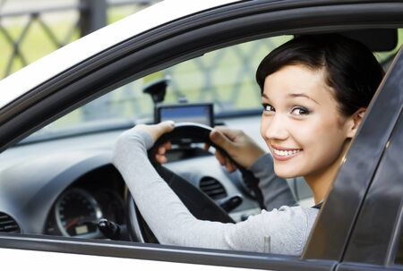 auto leasing: Smiling female driver