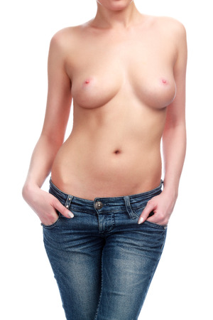 nude sexy woman: Topless woman in blue jeans