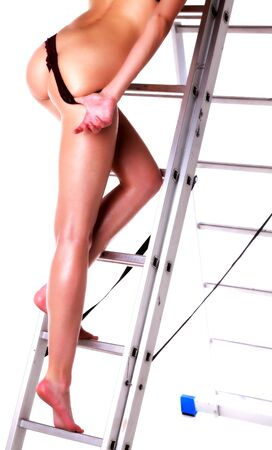 feet naked: Legs on a ladder
