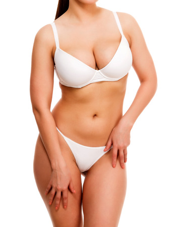 big boobs: Mujer con bonitas formas, aisladas sobre fondo blanco