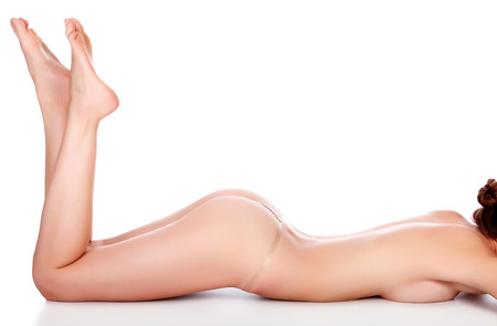 nude ass: Woman body on white background, isolated Stock Photo