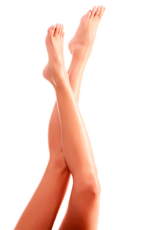long toes: Woman legs on white background, isolated
