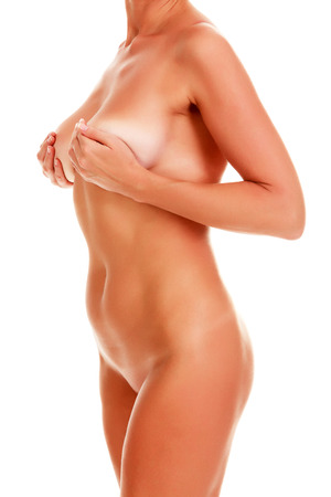 woman naked body: Naked woman body on white background, isolated