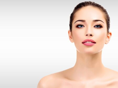 skin care woman: Beautiful young female with clean fresh skin Stock Photo