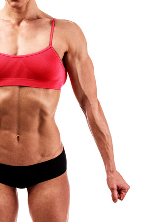 muscled: Muscular lady on a white background, isolated
