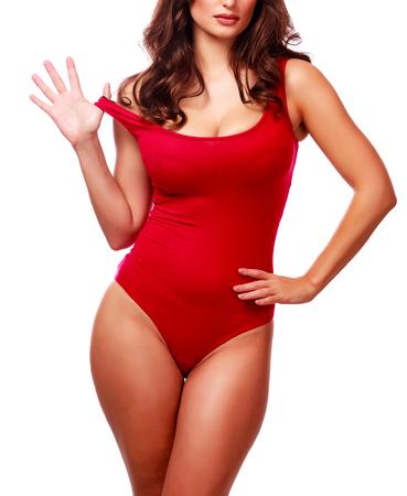 赤い下着、白い背景で隔離のセクシーな女性