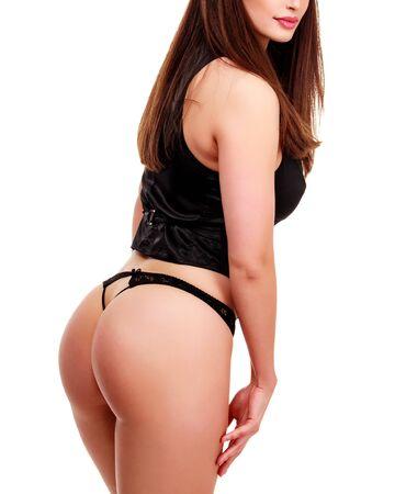busty: Sexy cuerpo de mujer en ropa interior negro chaleco y bikini, aisladas sobre fondo blanco
