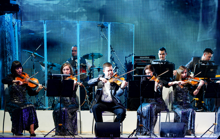 YEKATERINBURG - FEBRUARY 20, 2016: Original Music Orchestra performs on stage at Variete Theater on February 20, 2016 in Yekaterinburg, Russia.