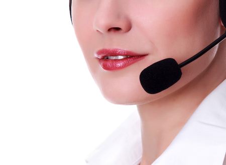 customer support: Closeup shot of happy smiling friendly support phone operator in headset, isolated on white background