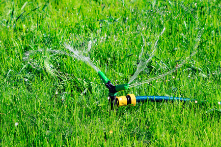 spaying: Closeup shot of lawn sprinkler spaying water over green grass field. Irrigation system