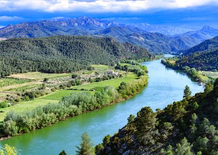 The Ebro river. Most important river on the Iberian Peninsula. Miravet, Spain Stock Photo