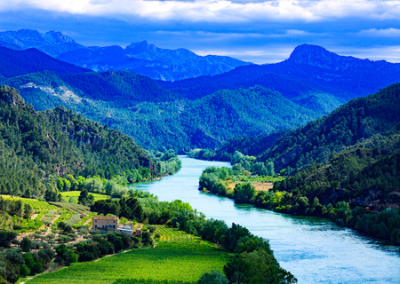 The Ebro river. Most important river on the Iberian Peninsula. Miravet, Spain 写真素材