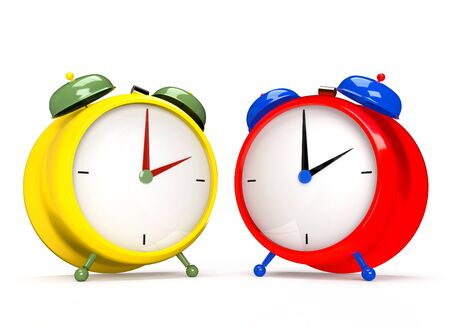 Two colorful alarm clocks on white background. 2 Oclock pm or am. 3D rendering Stock Photo