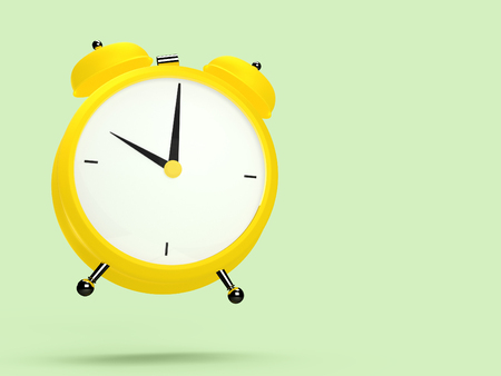 Closeup view of colorful alarm clock on light green background. 10 O'Clock, am or pm. 3D rendering Фото со стока