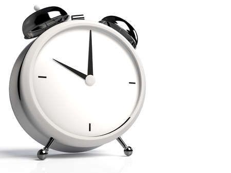 Alarm clock on white background. 10 OClock, am or pm. 3D rendering