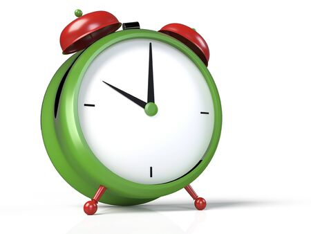 Closeup view of colorful alarm clock on white background. 10 OClock, am or pm. 3D rendering