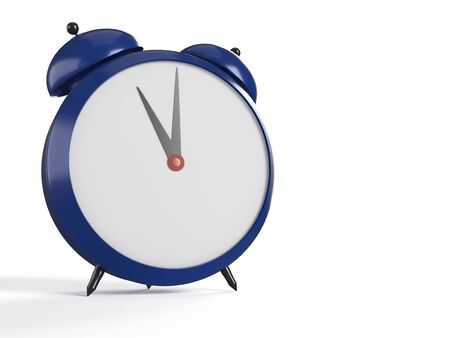 Alarm clock on white background. 11 OClock, am or pm. 3D rendering