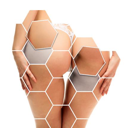 란제리에서 아름 다운 여자 엉덩이의 근접 촬영입니다. 하얀 팬티에 여성 엉덩이. 흰 배경에 고립. 스킨 케어 개념 스톡 콘텐츠