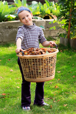 Cute little girl with the big plastic basket full of leaves