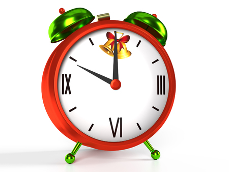 Christmas time alarm clock on white background, 3D rendering Stock Photo