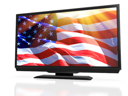 LED TV with the USA national flag on the screen, 3D rendering